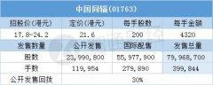 配股结果�中国同辐(01763)一手中签率80% 最终…